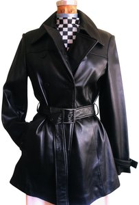 Calvin Klein Leather Leather Jacket Vintage Trench Coat