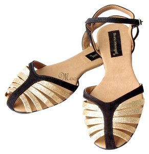 Bruno Menegatti Ankle Strap Strappy Gold, Black Sandals