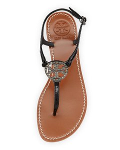 Tory Burch Reva Patent Leather Crystal Violet Black, Silver Sandals