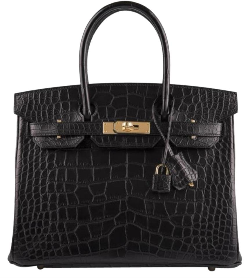 Hermès Birkin Gold Hardware Matte Black Mississippiensis Alligator Leather  Satchel 70284ff1c8ead