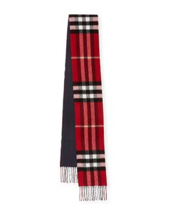 Burberry AUTHENTIC NEW Burberry Cashmere Check to Solid Scarf, RED Pattern