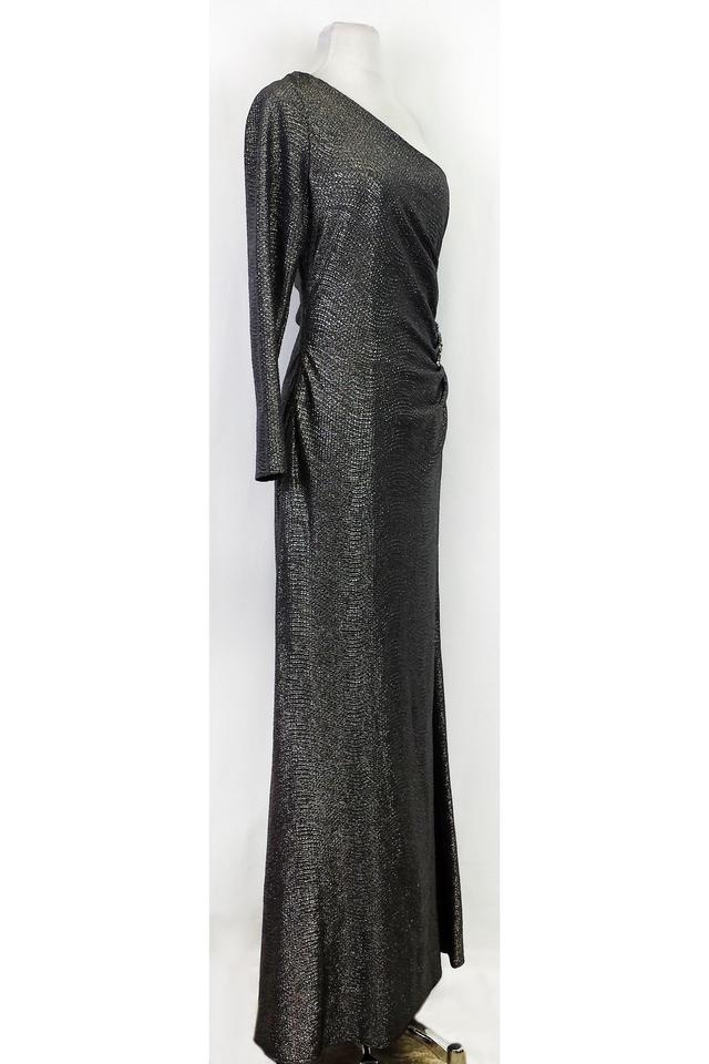 David Meister Grey One Shoulder Gunmetal Gown Long Night Out Dress ...