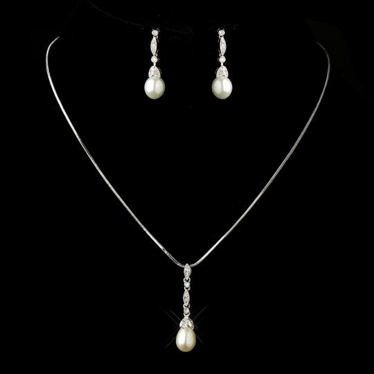 Elegance by Carbonneau Silver/Diamond White Pearl and Cz Jewelry Set
