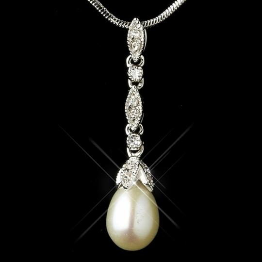 Elegance by Carbonneau Silver/Diamond White Pearl and Cz Jewelry Set Image 1