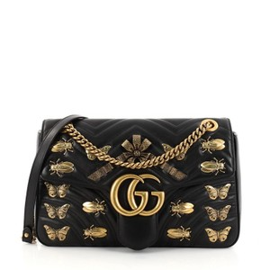 96392592397 Gucci Marmont Gg Flap Embellished Matelasse Medium Black Leather ...