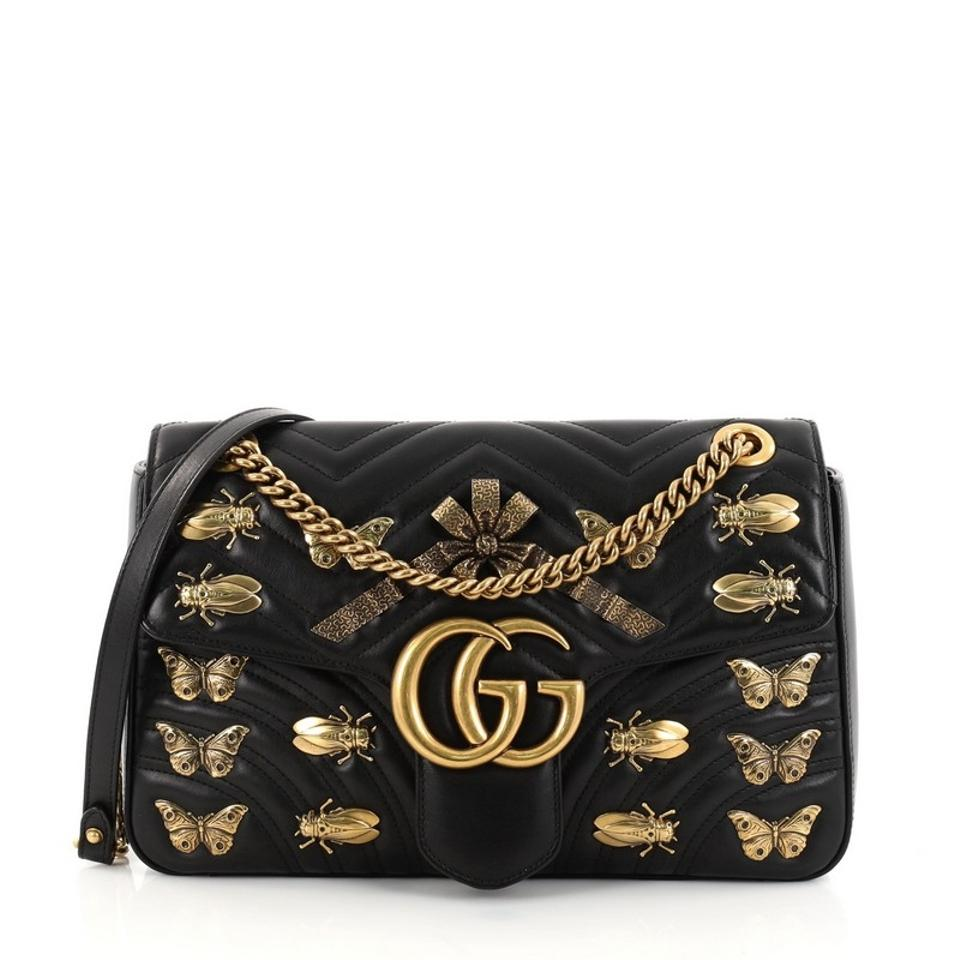 d1ef023a96c Gucci Flap Marmont Gg Embellished Matelasse Medium Black Leather ...