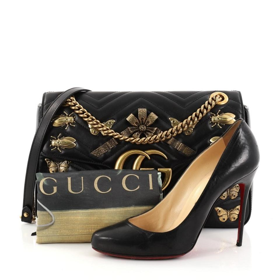 8aa0da6d02222e Gucci Flap Marmont Gg Embellished Matelasse Medium Black Leather Shoulder  Bag - Tradesy