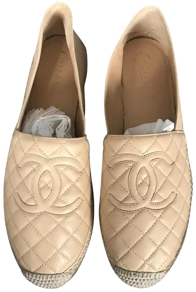 2e9aebfccafc Chanel Beige New Espadrilles Quilted Lambskin Leather Flats Size EU ...