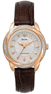 Bulova 98R152 Women's Brown Leather Band With Mother Of Pearl Dial Watch