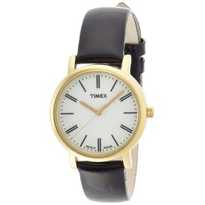Timex T2P371 Unisex Black Leather Band With White Analog Dial Watch NWT