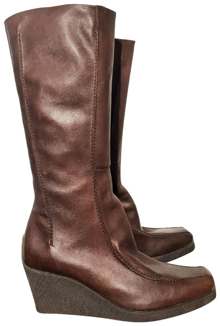 Item - Brown Calf Length Leather Square Toe Boots/Booties Size US 8 Regular (M, B)