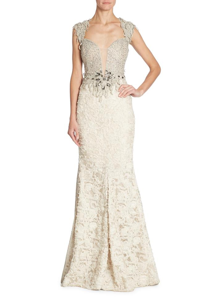 Alberto Makali Ivory Embellished Gown Long Formal Dress Size 2 Xs