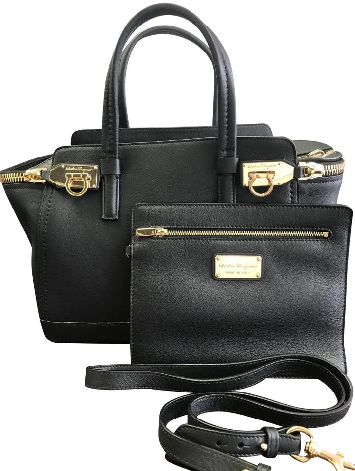 Salvatore Ferragamo Verve Zip Tote with Coin Pochette Black Leather Satchel c806cd0b358d9