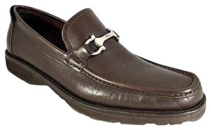 Salvatore Ferragamo Loafers Leather Moccasin Dress Brown Formal