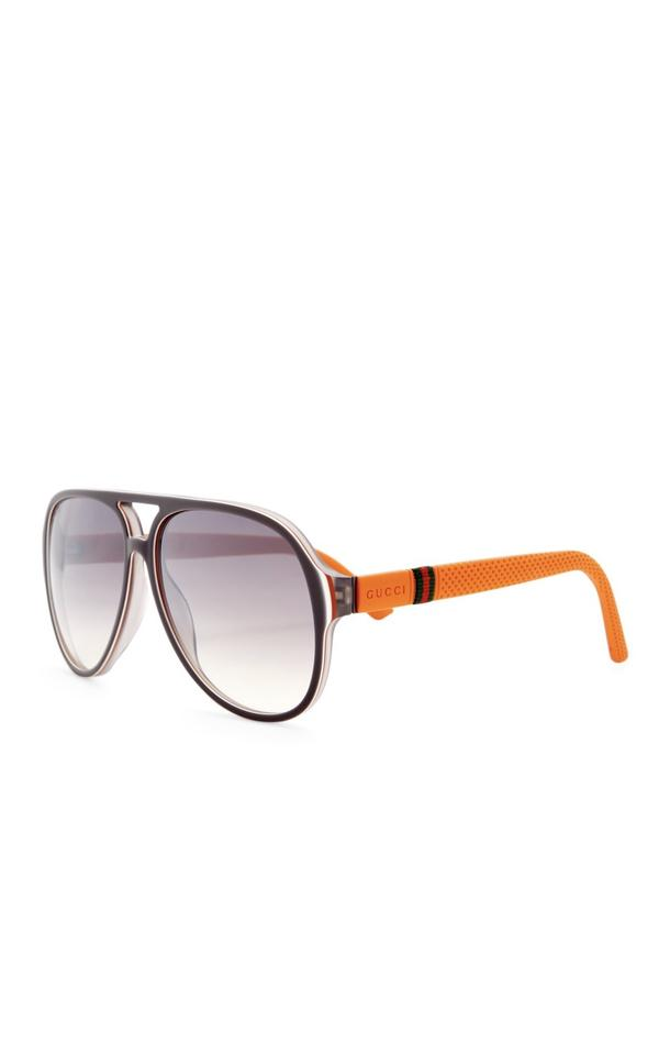 7147cfd6c5 Gucci GUCCI Men s Orange Black Acetate Frame Aviator Sunglasses Image 0 ...