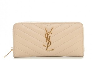 Saint Laurent Monogram Matelasse Zip Around Wallet Nude Powder
