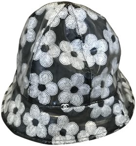 Chanel Black and white clear pvc CC Camelia Bucket Hat L