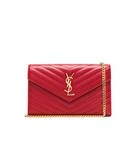 Saint Laurent Quilted Leather Gold Hardware Chain Chain Wallet Shoulder Bag