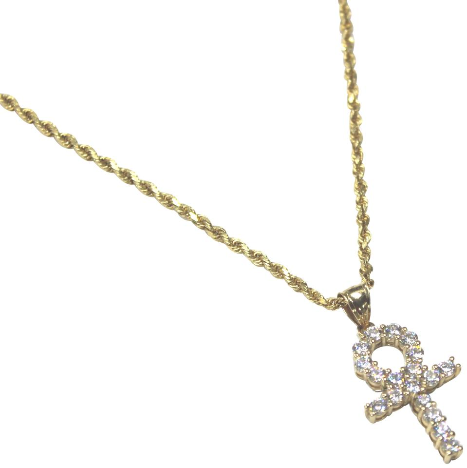 Yellow gold 14k rope chain with cubic zirconia cz ankh pendant other 14k yellow gold rope chain with cubic zirconia cz ankh pendant mozeypictures Image collections