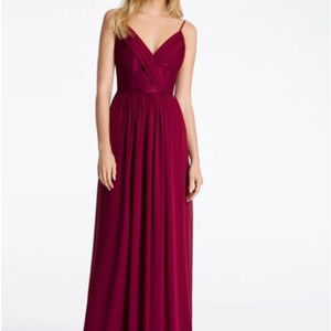 Hayley Paige Collections Burgundy Chiffon and Lace 5612 Formal Bridesmaid/Mob Dress Size 10 (M)
