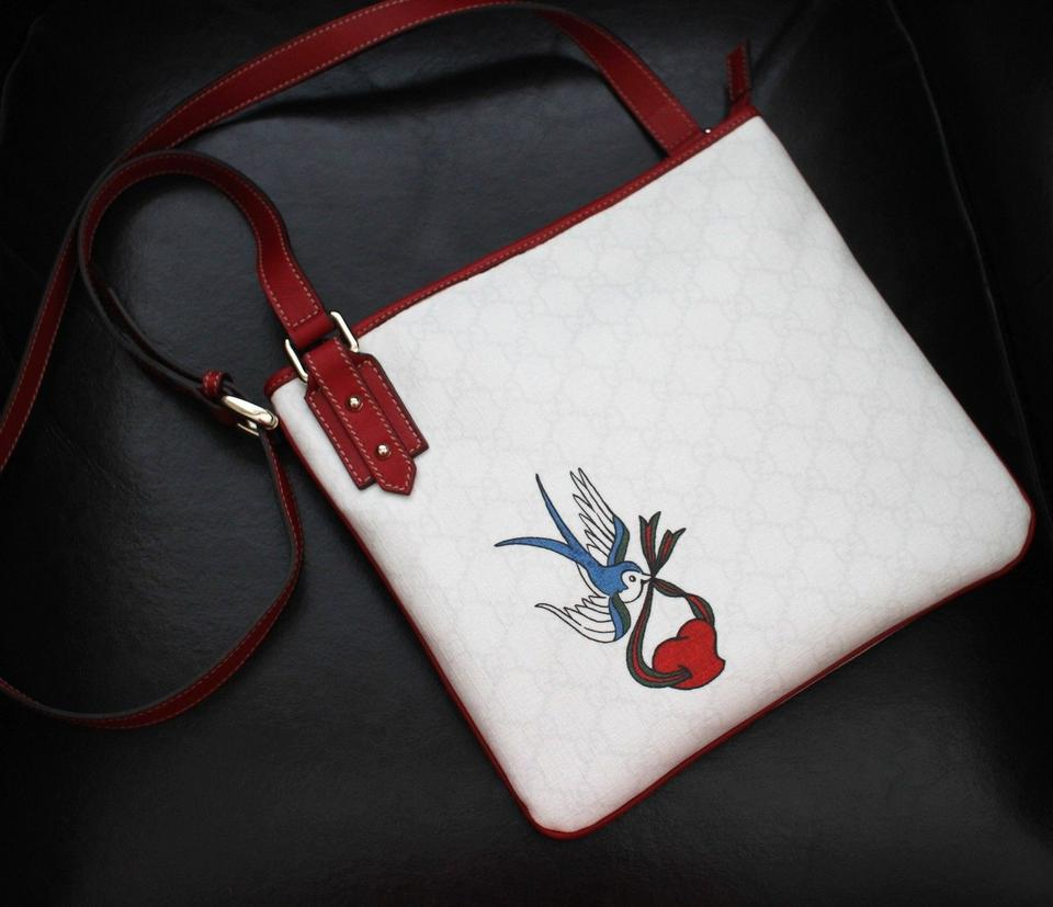 ced27f3d48b0 Gucci Messenger Heart Bird Tattoo Handbag 239347 White Gg Plus Cross ...