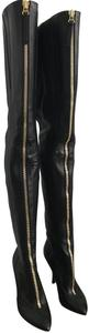 Sergio Rossi Black Leather with gold zipper Boots