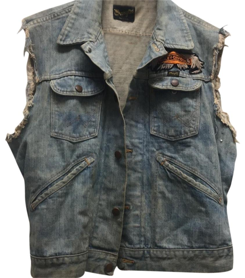 3daf75ee7b5c Wrangler Denim- Vintage Wash With Harley Davidson Patch Vest Size OS ...