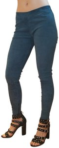 Vince Stretch Suede Lambskin Ankle blue teal Leggings