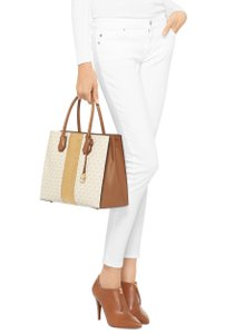 d0fa43017c02 MICHAEL Michael Kors Mercer Large Coated Twill Leather Signature Convertible  Shoulder Tote in Vanilla