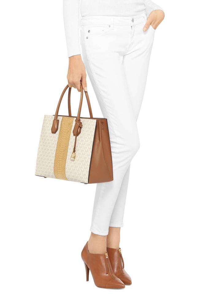 684161349407 MICHAEL Michael Kors Mercer Center Stripe Large Convertible Vanilla/Gold  Coated Twill/Leather Tote