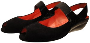 Pas de Rouge Suede Patent Leather Mary Jane Black Wedges