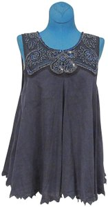 Free People Beaded Embellished Top Gray, Blue