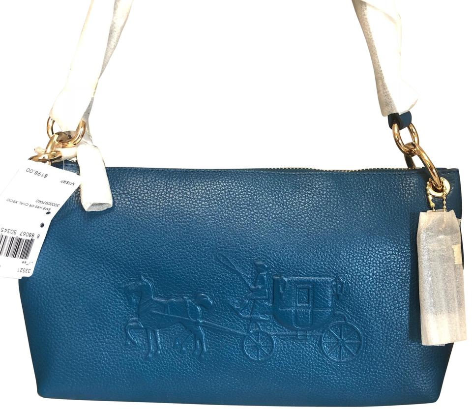 82a9931aca60 Coach Charley Horse   Carriage 33521 Embossed Teal Pebbled Leather Cross  Body Bag