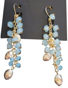 Rosa Clará Light Blue Austrian Crystal Gold-tone Wire Earrings FREE SHIPPING