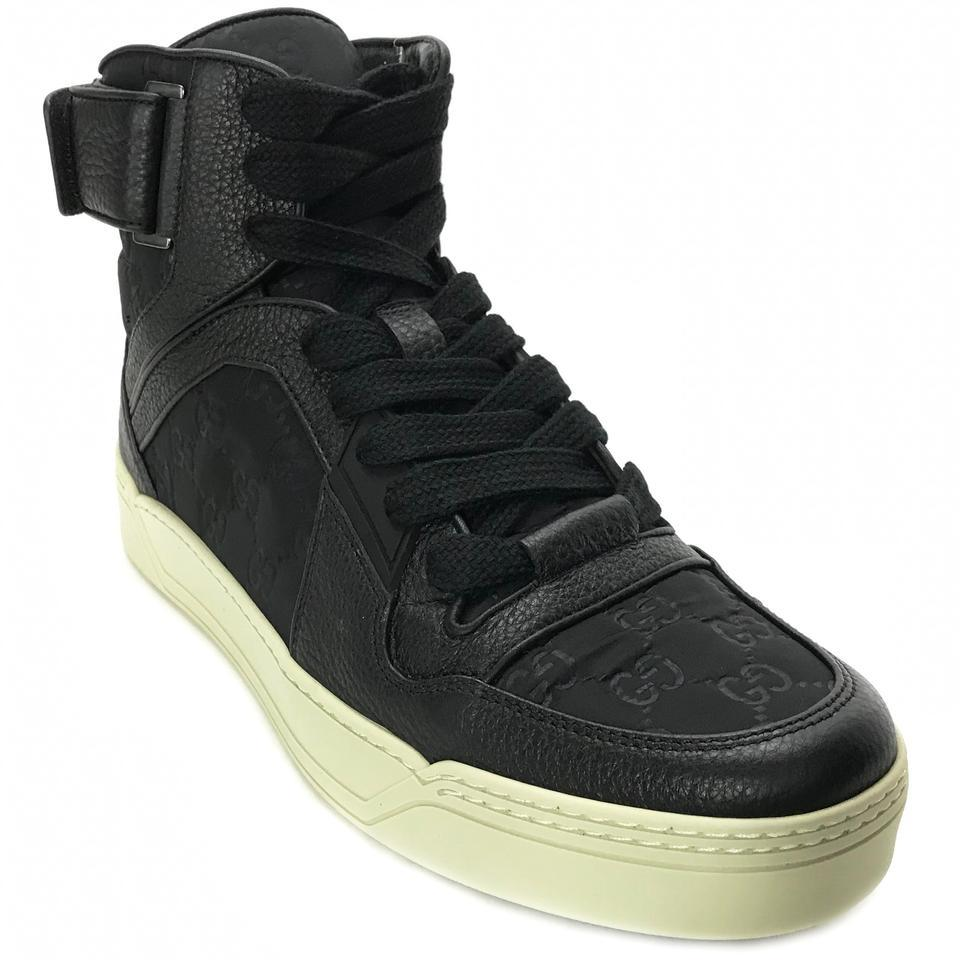 bcf8cfcfab6d Gucci Black 409766 Men's Nylon/Leather Guccissima High Top G8.5/Us9-  Sneakers