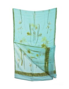 Salvatore Ferragamo Salvatore Ferragamo Sheer Blue Silk Floral Scarf with Sleeve
