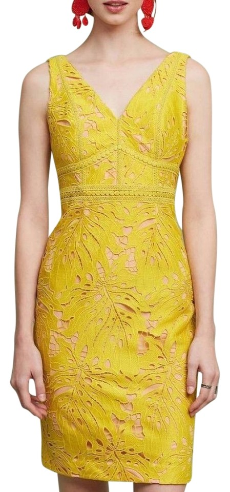 0dac1e721443 Anthropologie Yellow Gardenia Lace Column By Maeve Mid-length Night ...