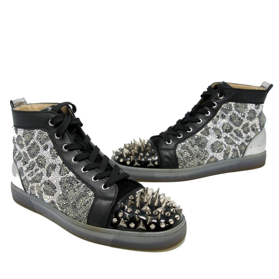 b32a80b65dd Christian Louboutin Black Signature Strass Silver Spikes  no Limit  High  Top Sneakers 42.5 Sneakers