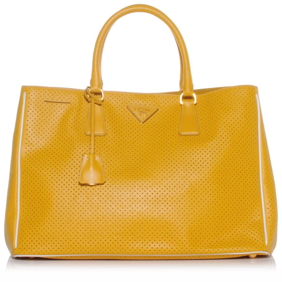 522b63d952ff Prada Saffiano Fori Perforated In Yellow Leather Tote - Tradesy