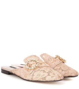 Dolce&Gabbana Dolce Lace Crystal Luxury Italian Apricot (Nude) Mules