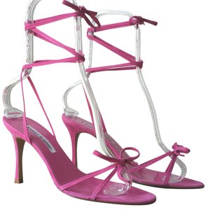 Manolo Blahnik Ankle Tie Breath And Grace Pink Sandals
