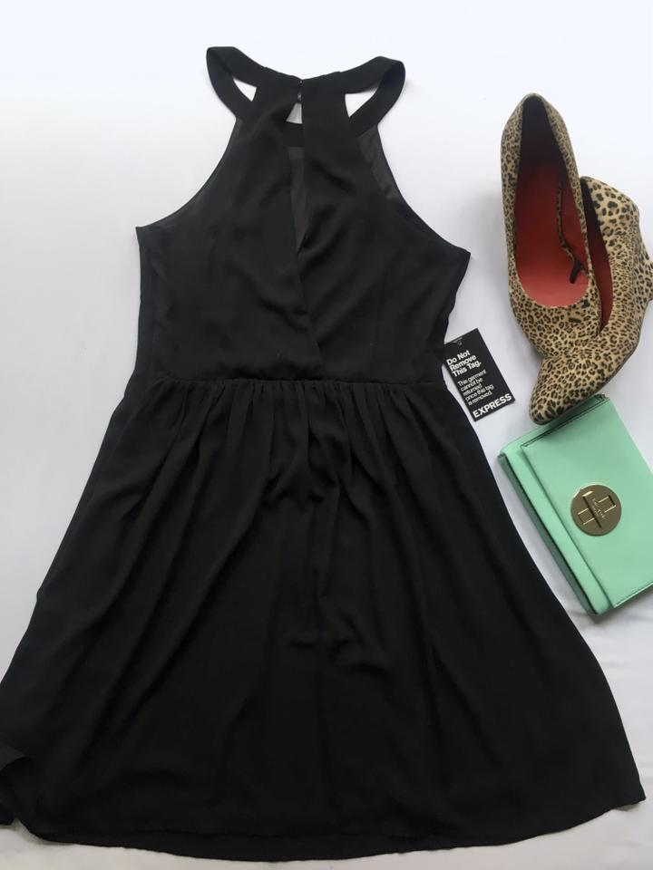 9876c72674c6d Express Black High Neck Fit & Flare Cocktail Dress Size 2 (XS) - Tradesy