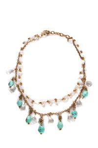 Stephen Dweck Multicolored Gold-Tone Chain Necklace