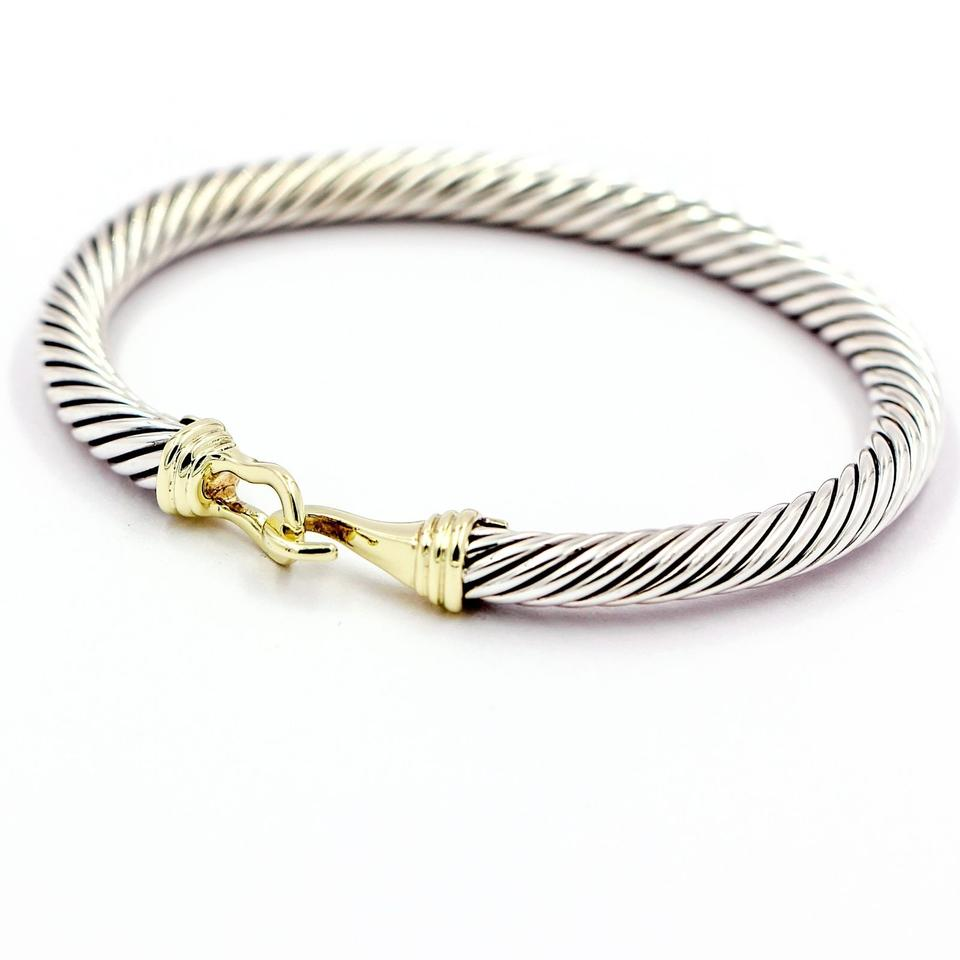 David Yurman 5mm Cable Buckle Bracelet With 14k Gold Sterling Silver