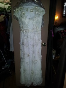 Melissa Sweet Off White 3d Cap Sleeve Lace Dress.beautiful Style Vintage Wedding Dress Size 6 (S)