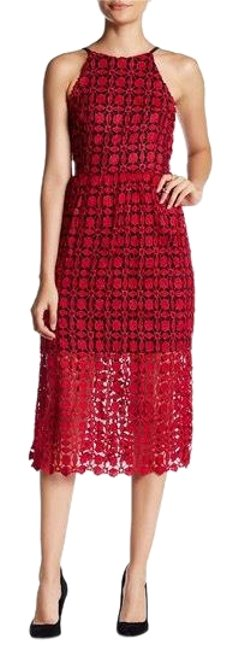Item - Black Red Crochet Lace Mid-length Cocktail Dress Size 4 (S)