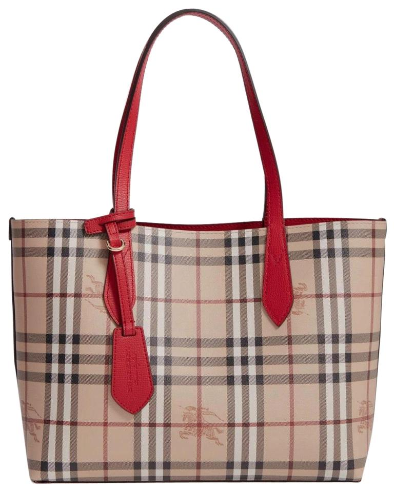 f9103ce306e3 Burberry Small Lavenby Reversible House Check Red Leather Tote - Tradesy