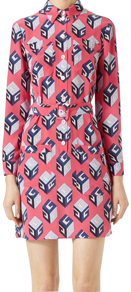 b4cff624 Gucci Pink Vintage Wallpaper Print Gg Silk Shirtdress Work/Office Dress