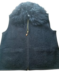 Lisa International Mongolian Lamb Wool Zipper Boiled Wool Vest