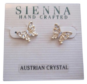 Other Sienna Gold-tone Austrian Crystal Butterfly Stud Earrings FREE SHIPPING